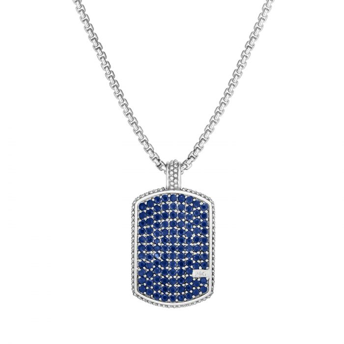 Sapphire Dog Tag Necklace